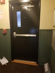 black metal door