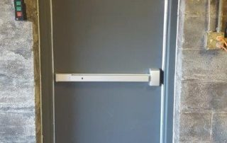 grey metal emergency exit door